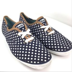 KEDS Champion Canvas Shoe Navy & White Polka Dot